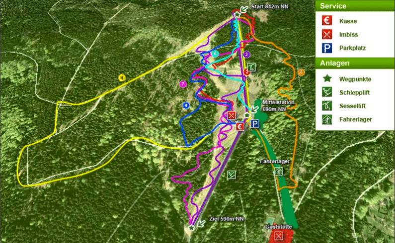 Streckenplan mit sieben verschiedenen Mountainbike Strecken im Thüringer Wald unter anderem Downhill, Freeride, Flutlicht Strecke, Northshore und Rockies-Cup
