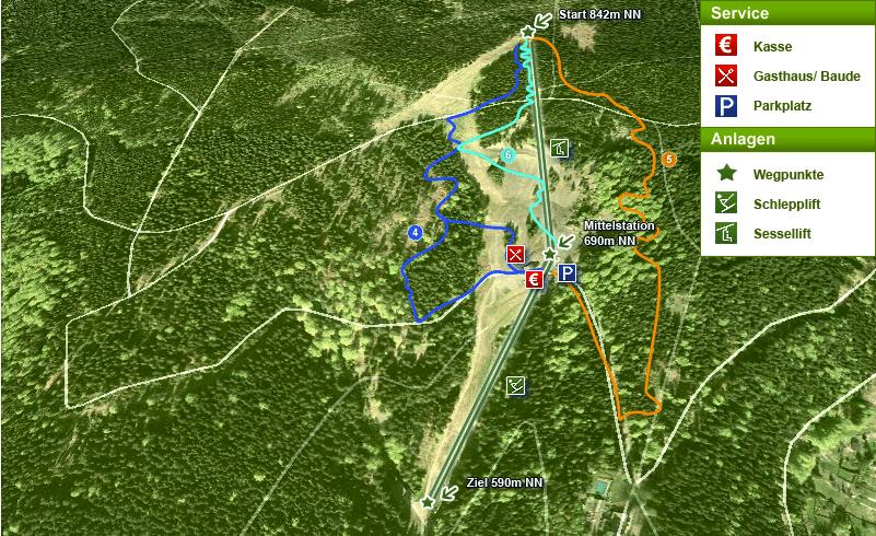 Plan mit Liftanlagen zu den Mountainbike Strecken im Thüringer Wald