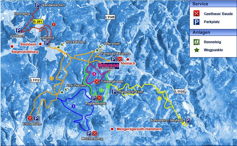 Skilanglauf- & Loipenplan rund um die Skiarena Silbersattel Steinach im Thüringer Wald