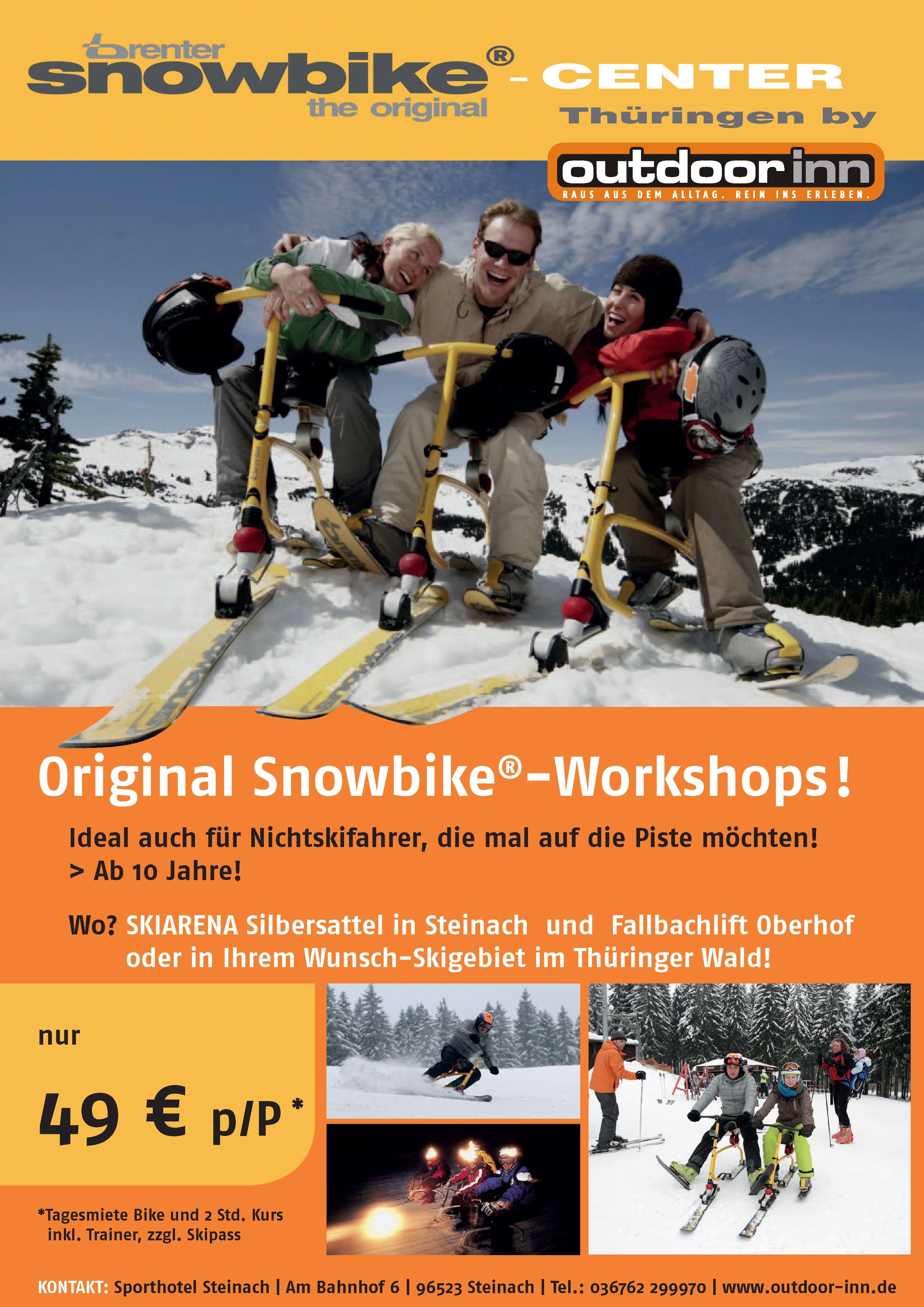 Plakat Snowbike Workshops vom outddor inn in der Skiarena Silbersattel Steinach, am Fallbachlift Oberhof oder einem Wunsch-Skigebiet im Thüringer Wald