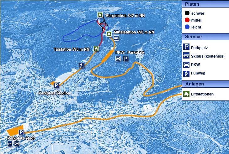 Karte mit Parkplätzen entlang der Skiwanderwege und Loipen rund um die Skiarena Silbersattel Steinach im Thüringer Wald